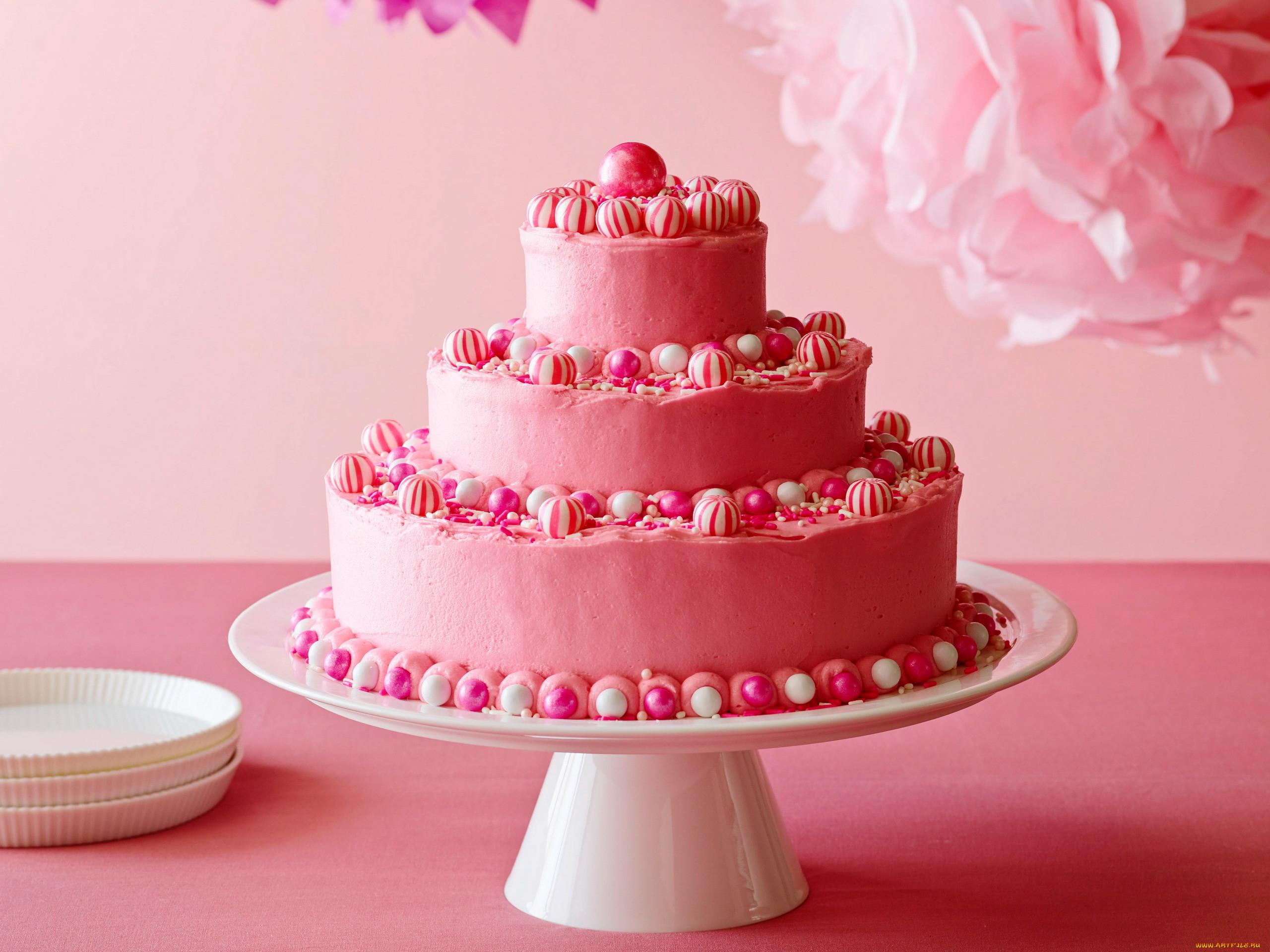 это картинки розовых тортов вам изготовление